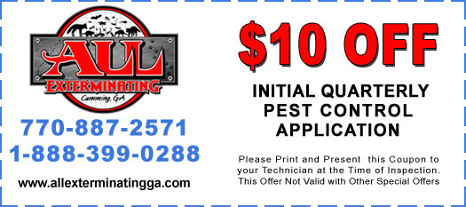 $10 Off Initial Quarterly Pest Control Application