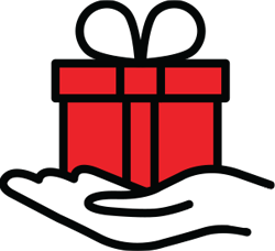 Ilustration of a hand holding a red gift box with a ribbon.